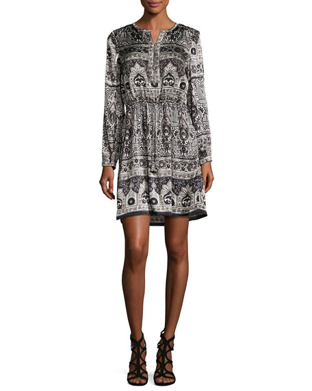 CALYPSO ST BARTH TALORI LONG-SLEEVE PRINT SILK DRESS, SNOW CC
