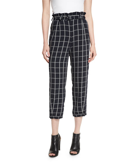 Elizabeth and James Fritz Cropped Paperbag-Waist Check Pants,
