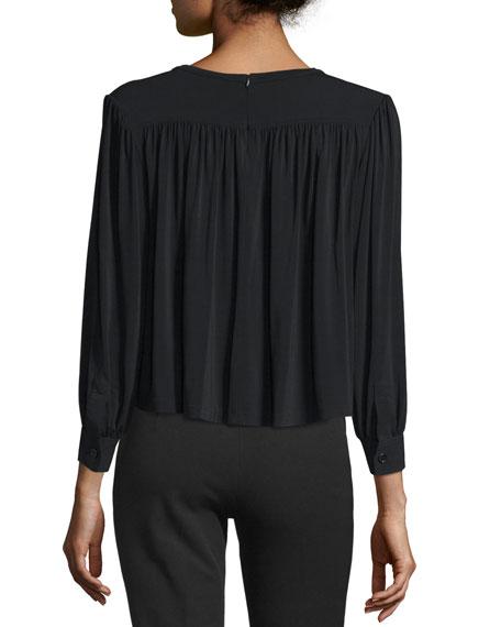Juniper Shirred Boxy Jersey Top, Black