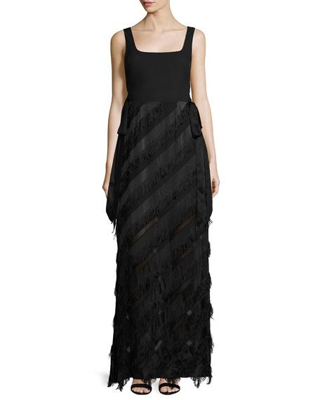 Rachel Zoe Sleeveless Jersey & Fringe Combo Gown,