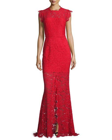 Sleeveless Floral Lace Column Gown, Rogue