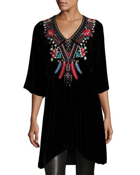 Ava Embroidered Velvet Tunic/Dress, Black