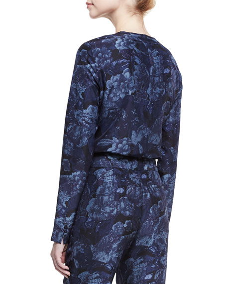 Davidson Long-Sleeve Floral Silk Blouse, Royal/Black