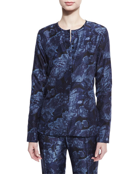 Elizabeth and James Davidson Long-Sleeve Floral Silk Blouse,