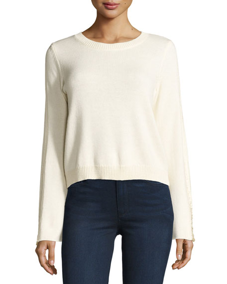 Ramy Brook Misha Shredded-Trim Sweater, Ivory