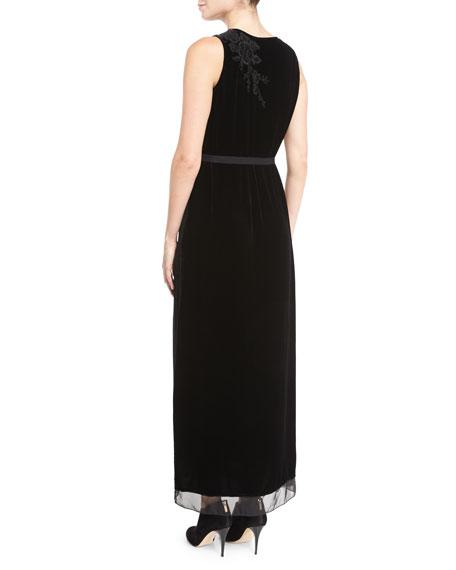 Talvia Sleeveless Floral-Embroidered Velvet Maxi Dress