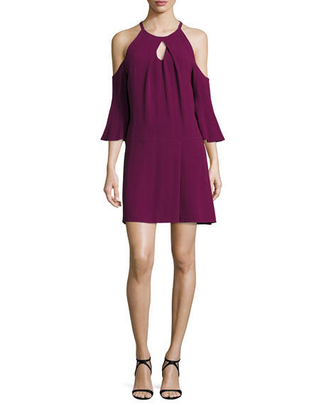Ramy Brook Evette Cold-Shoulder Dress, Sangria