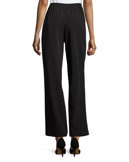Full-Length Gabardine Travel Pants, Black