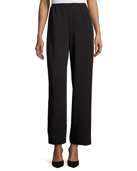 Caroline Rose Full-Length Gabardine Travel Pants, Black, Petite