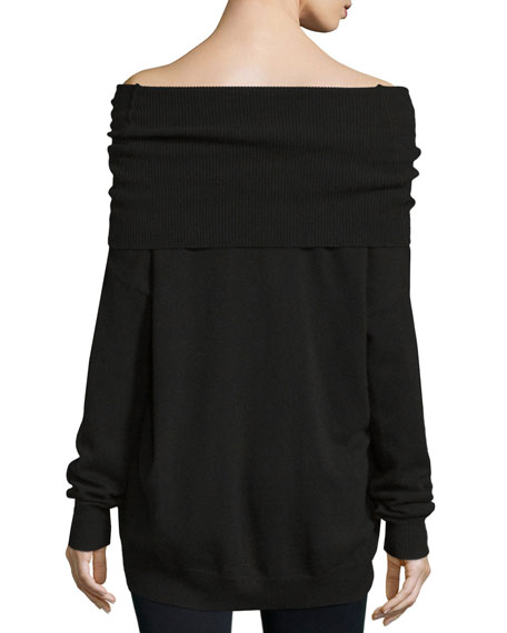 Kendall   Kylie Fold-Over Off-The-Shoulder Tunic Sweater, Raven