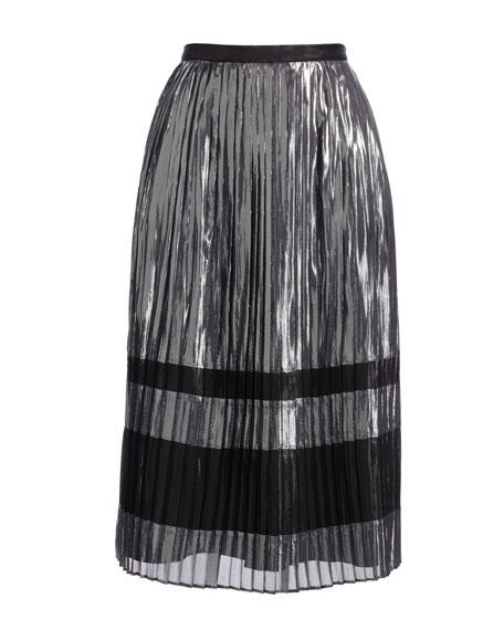 Metallic Pleated A-Line Midi Skirt, Silver