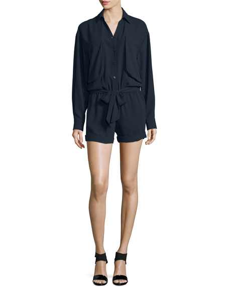 FRAME Crepe Long-Sleeve Romper, Navy