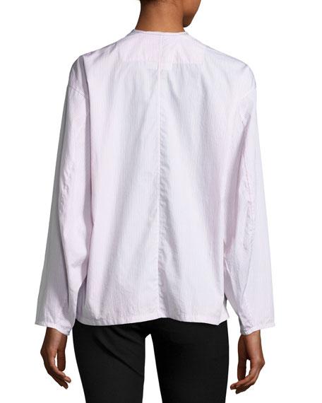 Albane Collarless Striped Cotton Button-Down Shirt, White