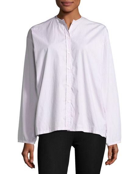 Joseph Albane Collarless Striped Cotton Button-Down Shirt, White