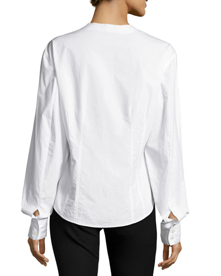 Asher Fitted Button-Down Poplin Shirt, White