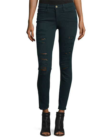 Le Color Rip Skinny Jeans, Spruce