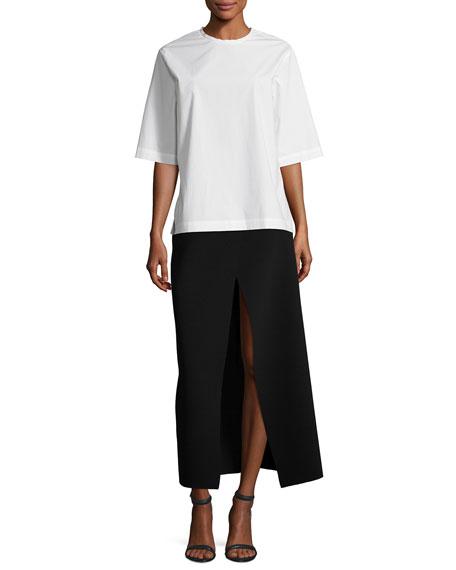 Ferdi Long Crepe Skirt w/ Thigh-High Slit, Black