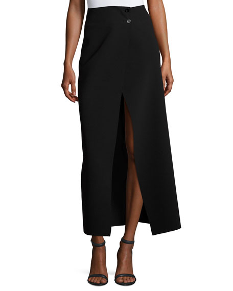 Joseph Ferdi Long Crepe Skirt w/ Thigh-High Slit,
