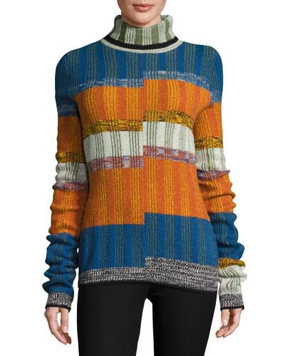 Turtleneck Split-Angle Striped Sweater