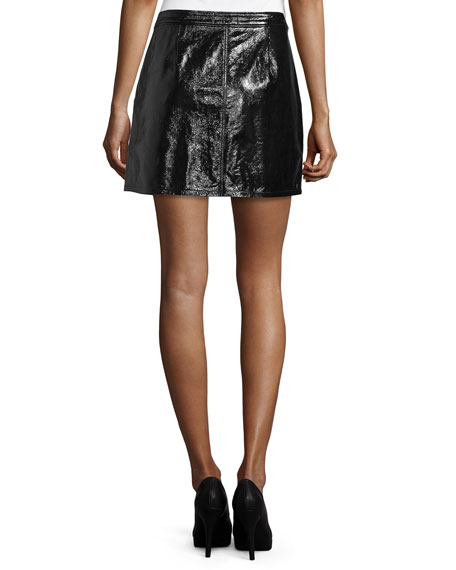 Shiny Leather Mini Skirt, Noir