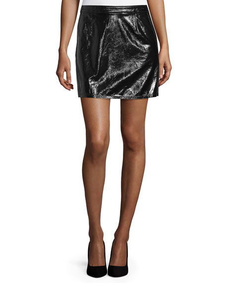 FRAME Le Shiny Leather Crop Jacket & Mini