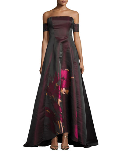 Strapless Floral Taffeta Ball Gown, Wine