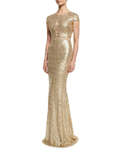 Cap-Sleeve Sequined Column Gown, Champagne