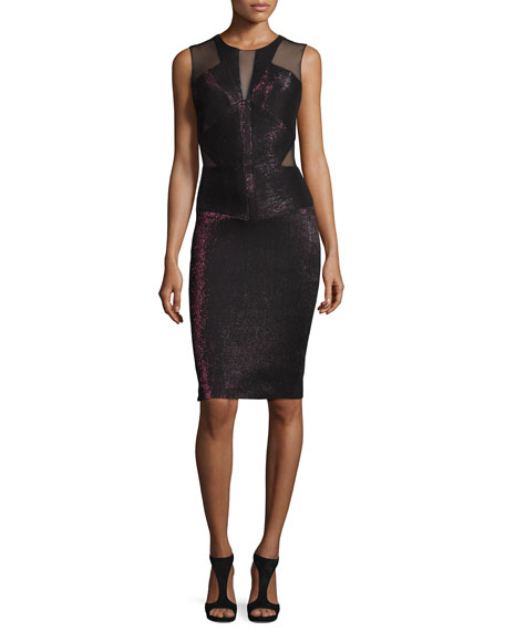 Badgley Mischka Sleeveless Metallic Mesh-Trim Sheath Dress, Wine