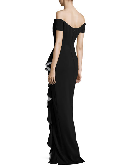 Off-the-Shoulder Draped Ruffle Column Gown, Black/Ivory