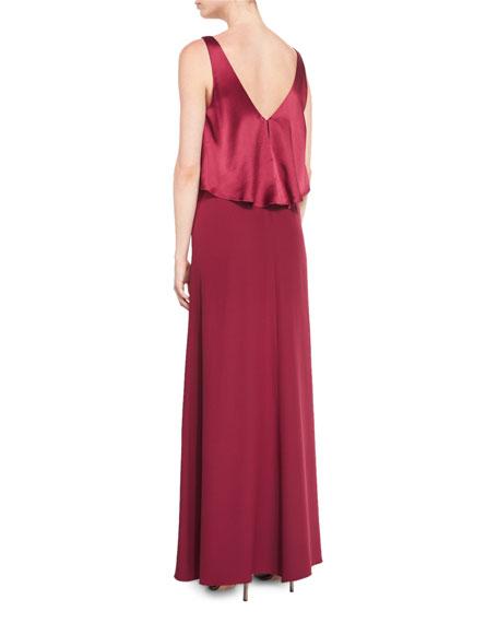 Sleeveless Satin-Popover Crepe Gown, Oxblood