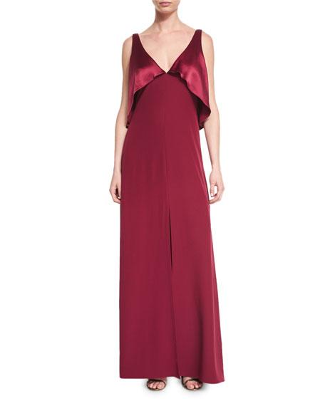 Jill Jill Stuart Sleeveless Satin-Popover Crepe Gown, Oxblood