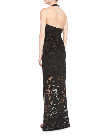 Leaf Lace Halter Gown, Jet