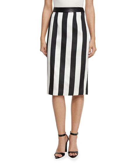 Kendall + Kylie Striped Leather-Trim Pencil Skirt