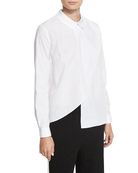 Kendall + Kylie Asymmetric Long-Sleeve Poplin Shirt