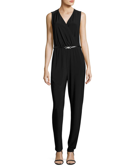 NIC+ZOE Sleeveless Luxe Jersey Belted Jumpsuit