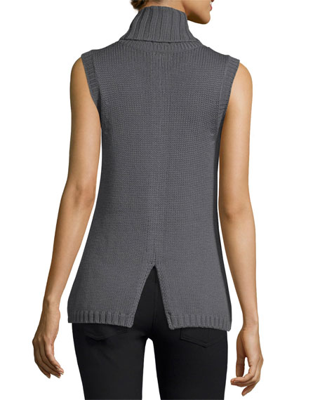 Leah Beaded Sleeveless Cowl-Neck Sweater, Gunmetal