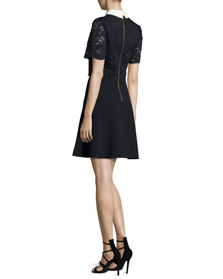 Dixxy Lace-Popover Dress, Navy