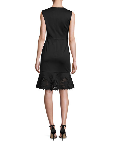 Chrysa Embroidered Frill-Hem Dress, Black