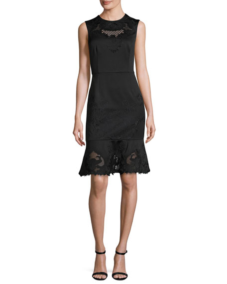 Chrysa Embroidered Frill-Hem Dress, Black