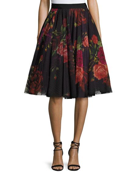 Ted Baker London Ondra Floral Print Tulle Midi Skirt
