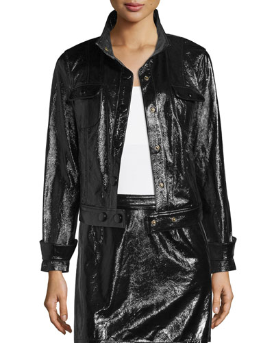 Shiny Leather Crop Jacket, Noir