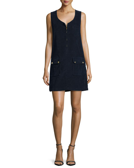 FRAME Cord Front-Zip Dress, Deep Blue Dive