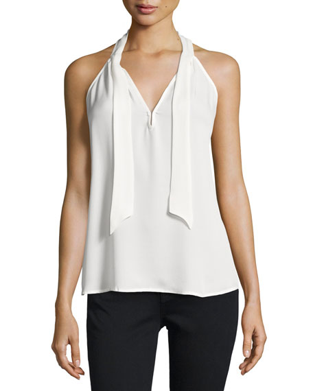 Melisent Sleeveless Tie-Neck Top, Porcelain