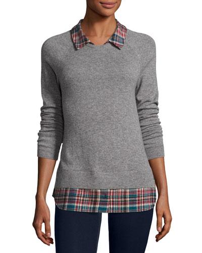 Cashmere Zaan Twofer Sweater, Gray/Deep Marine