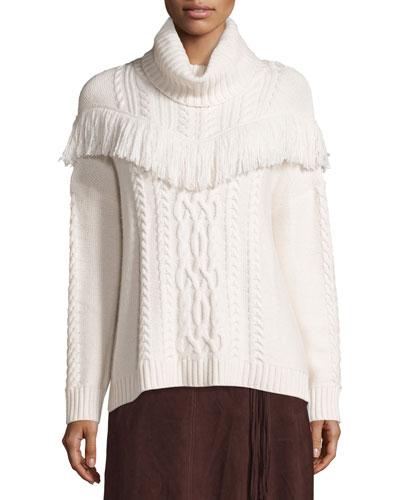 Viviam Cozy Cable Fringe-Trim Sweater
