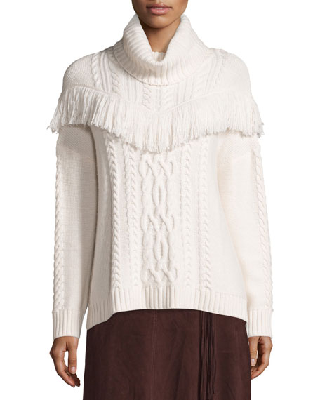 Joie Viviam Cozy Cable Fringe-Trim Sweater