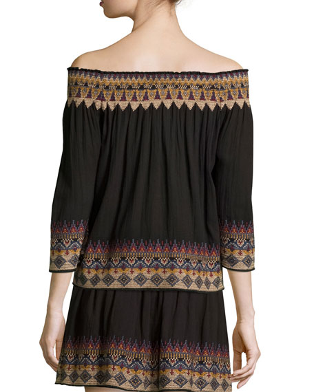 Crosby Embroidered Smocked Off-The-Shoulder Top