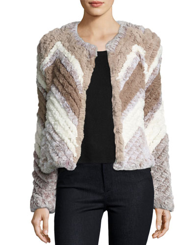 Chevron-Stripe Faux-Fur Jacket, Multi Beige/Tan