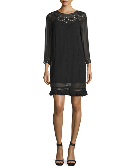 Joie Agatha Laser-Cut Crepe Shift Dress, Caviar