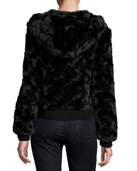 Faux-Fur Hooded Zip-Front Bomber Jacket, Black